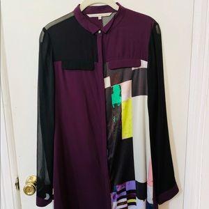 Rachel Roy Satin Shirt Dress w Pockets